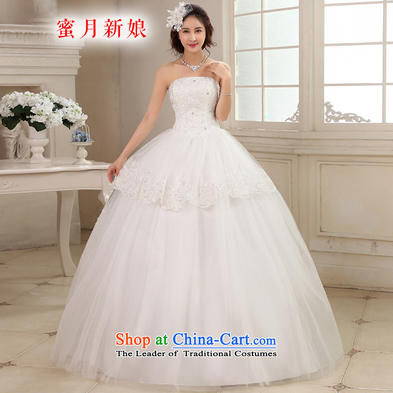 Honeymoon bride wedding dresses 2015 new Korean lace diamond wiping the chest to align the wedding princess straps wedding white聽L