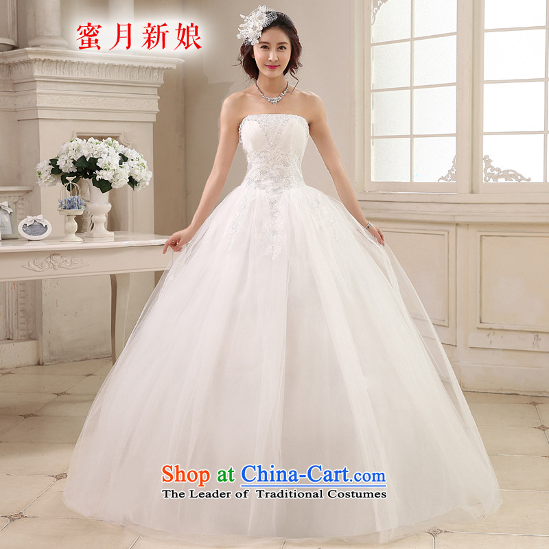 Honeymoon bride wedding dresses 2015 new Korean diamond wiping the chest to align the wedding princess straps wedding White聽M
