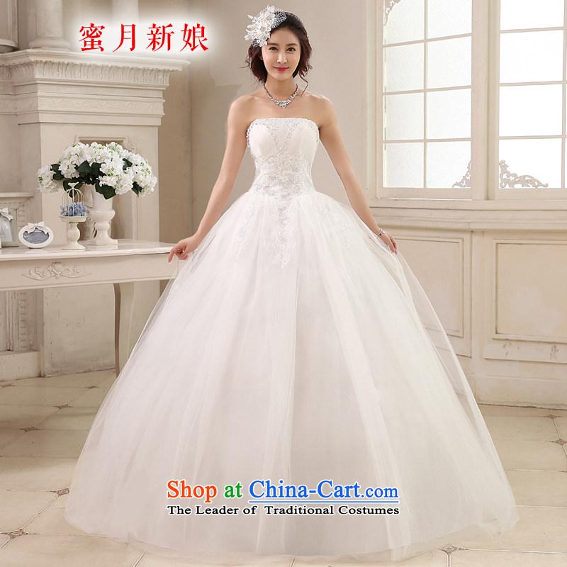 Honeymoon bride wedding dresses 2015 new Korean diamond wiping the chest to align the wedding princess straps wedding White?M
