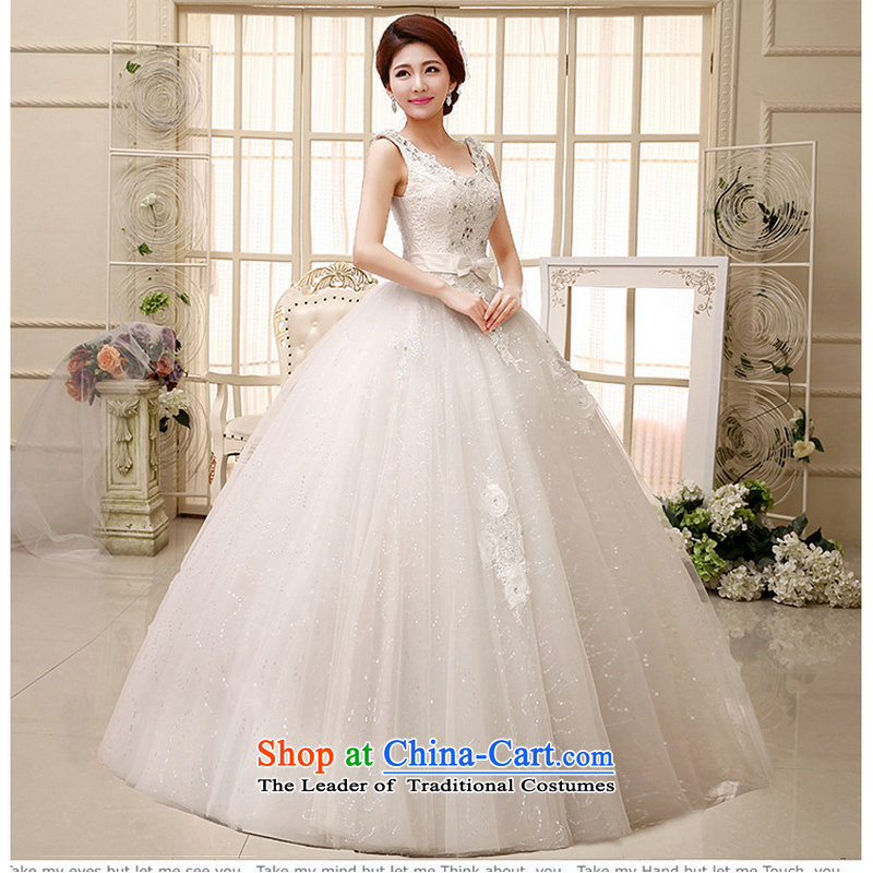 Optimize Hong-wedding dresses new 2014 retro sexy V-Neck shoulders to align bon bon bride wedding white lace XS569 White?M Strap