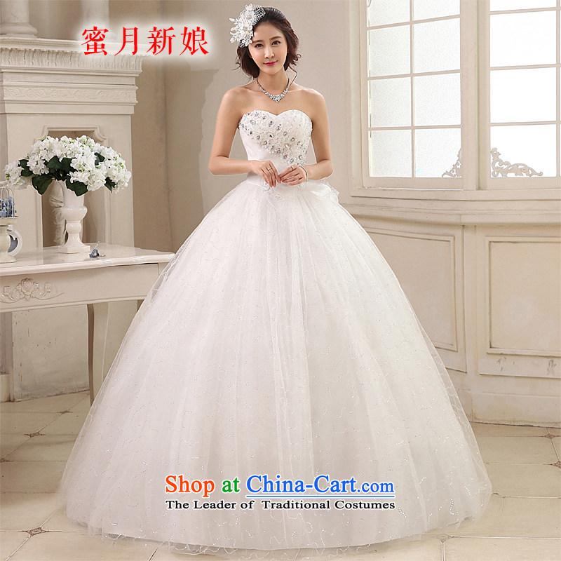 Honeymoon bride wedding dresses 2015 new Korean diamond wiping the chest to align the wedding princess straps wedding white?S