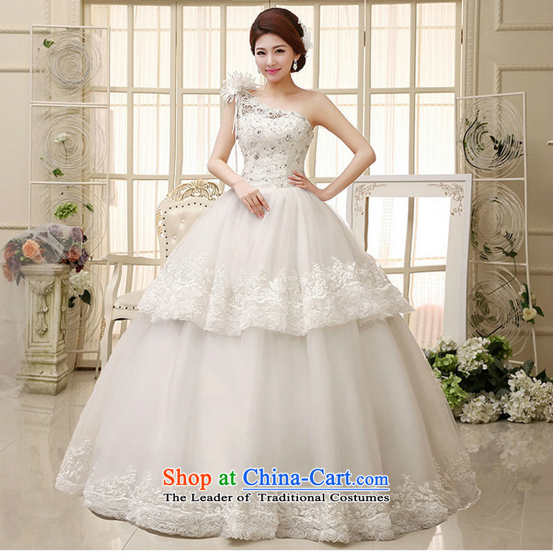 Optimize high-end fashion Hong-flower wedding sweet bride lace wedding manually set the drill shoulder 2014 new wedding XS578 white L