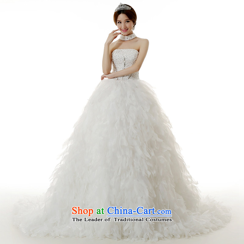 Clean the?new Ultra 2015 diffuse Deluxe Big tail feathers flowers wedding dresses and stylish ultra-long chest luxury tail wedding tail 150CM S