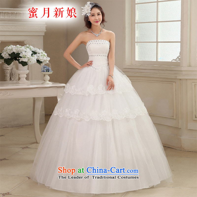 Honeymoon bride wedding dresses 2015 new Korean lace diamond wiping the chest to align the wedding princess straps wedding white聽S