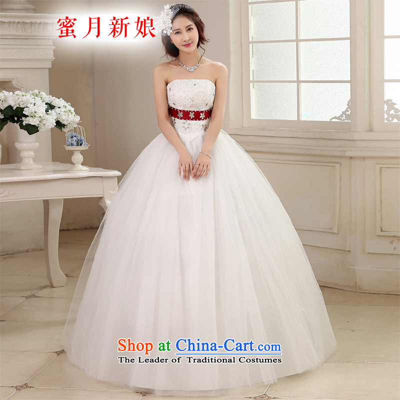 Honeymoon bride wedding dresses 2015 new Korean sweet princess shoulder strap with flowers to align the wedding bon bon straps wedding white聽L