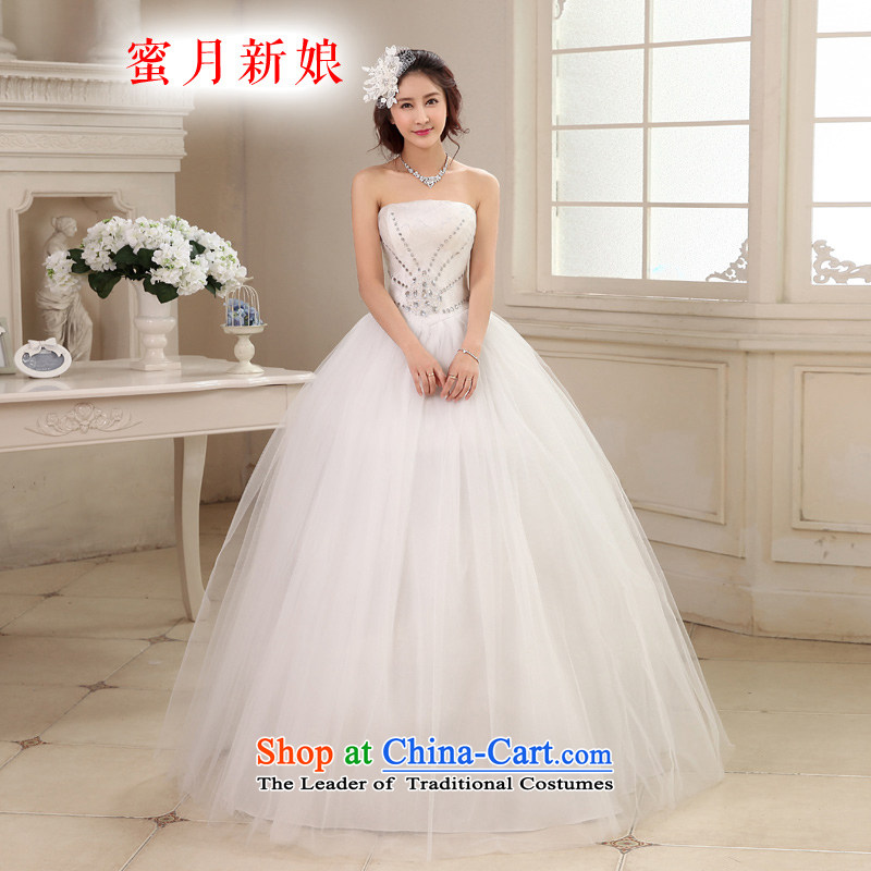 Honeymoon bride wedding dresses 2015 new Korean Diamond Wedding align with Chest straps to the princess wedding white XS