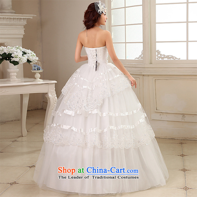 Honeymoon bride wedding dresses 2015 new water drilling and chest wedding align to bind with Princess wedding white L, bride honeymoon shopping on the Internet has been pressed.