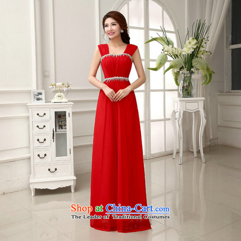 Optimize video new 2014 wedding dresses marriages long drink service bridesmaid shoulders video thin evening dresses XS892 female red�XXL