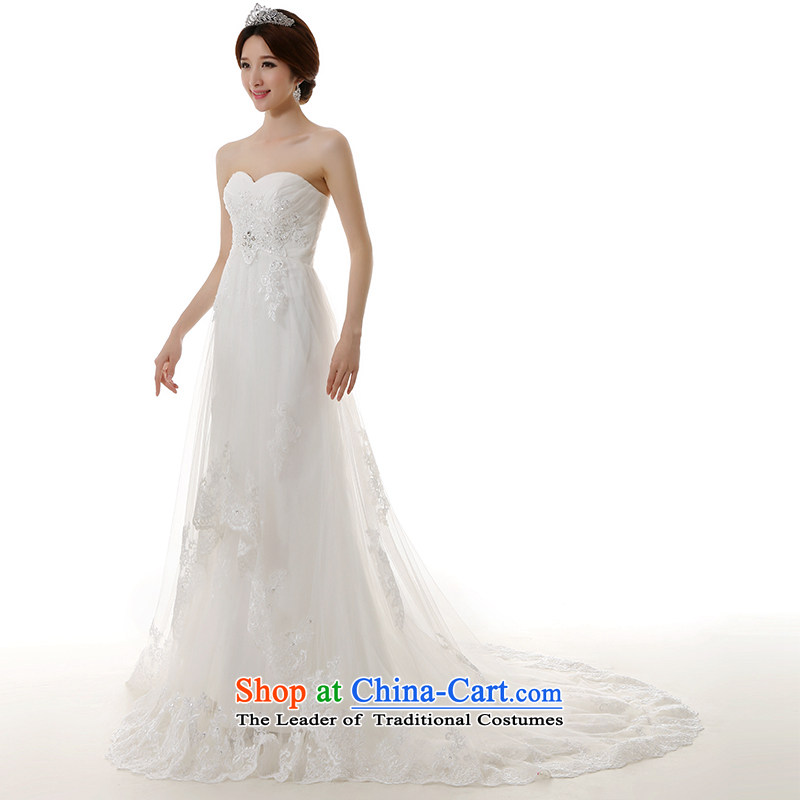 The spring and summer of 2015, Man Jie new pregnant women crowsfoot tail large wedding dresses Korean Top Loin of large tie Sau San video thin crowsfoot wedding dresses white?L