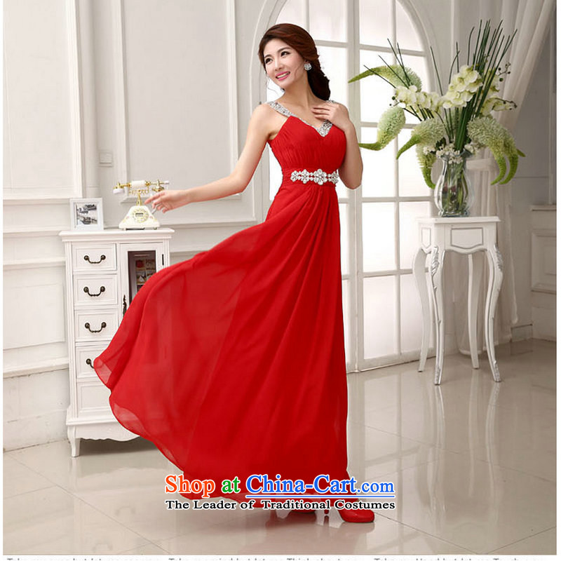Optimize Hong-red Korean lace The Princess Bride wedding dress betrothal marriage services wedding XS781 bows red?XL