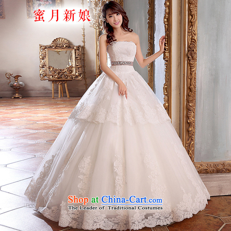 Honeymoon bride wedding dresses聽2015 new lace straps wedding tail wedding White聽XL