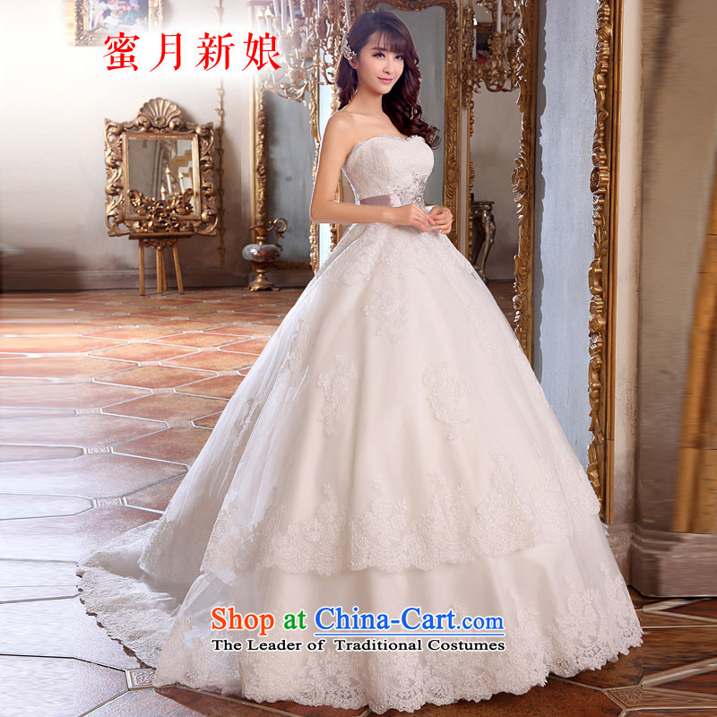 Honeymoon bride wedding dresses 2015 new lace straps wedding tail wedding white L