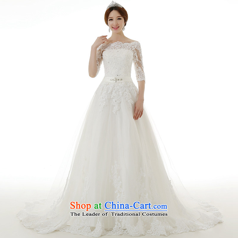 Clean the spread of?autumn and winter 2015 a new field for long-sleeved large shoulder tail wedding dresses Korean Sau San Princess Bride with lace tail wedding dresses tail of tailored