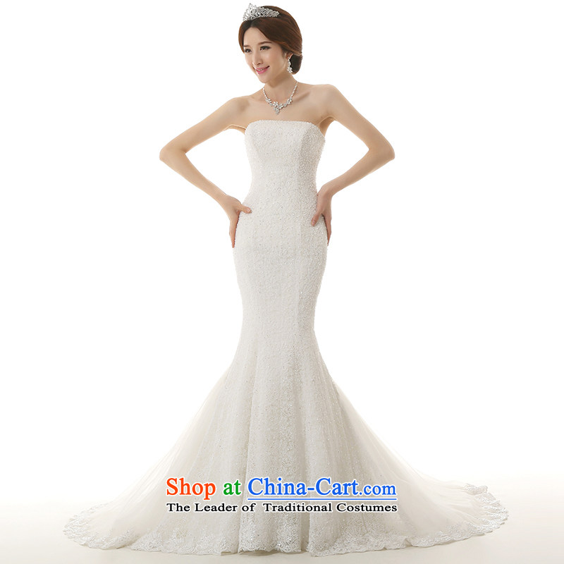 Clean the new bride Castores Magi 2015 crowsfoot large tail white wedding dress luxury lace anointed chest pocket inbox and Korean style crowsfoot tail Sau San wedding dresses white L