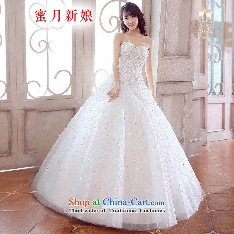 Honeymoon bride 2015 new products wedding dresses to manually put the chest wedding flower sweet white wedding princess?S
