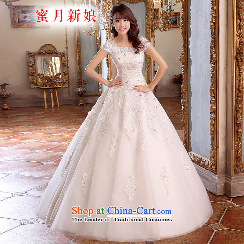 Honeymoon bride wedding dresses 2015 New dream lace wedding align to Korean style wedding White M