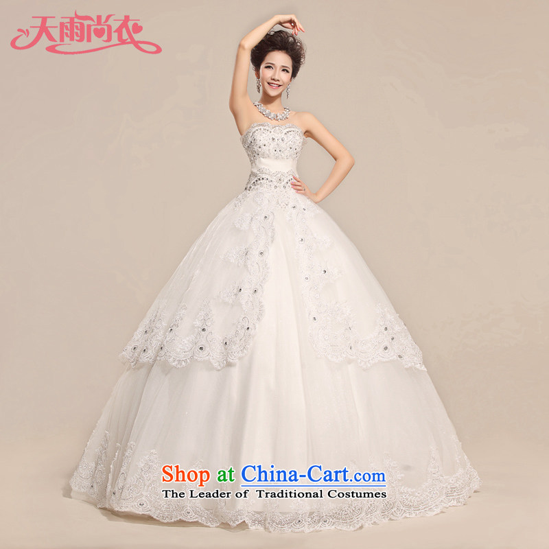 Rain-sang yi 2015 New Princess Bride temperament diamond Married Mary Magdalene Chest straps to wedding?HS957?white?S