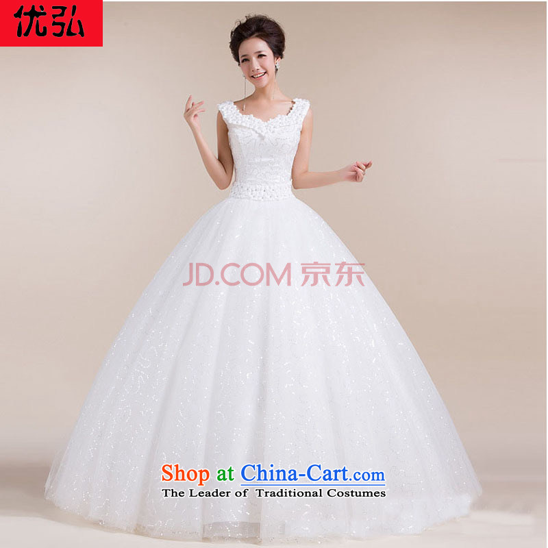 Optimize video new word shoulder straps Fung skirt dragging flowers of the waist stylish and simple wedding dresses XS7077 white Package