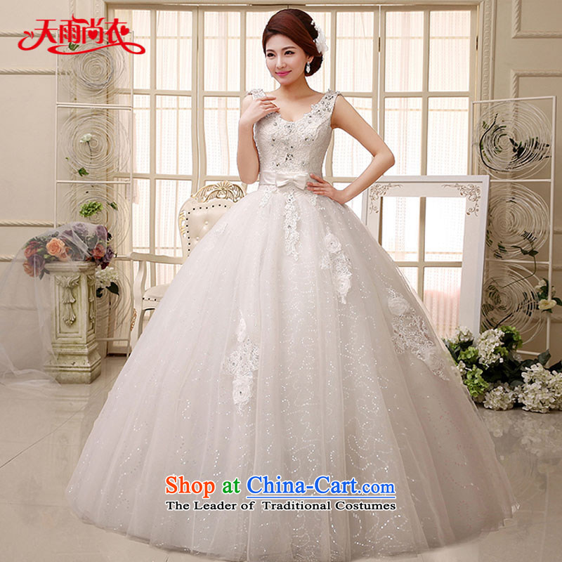 Rain-sang Yi marriages 2015 new Korean shoulders elegant parquet drill lace straps to align the white video thin wedding HS971 white?L