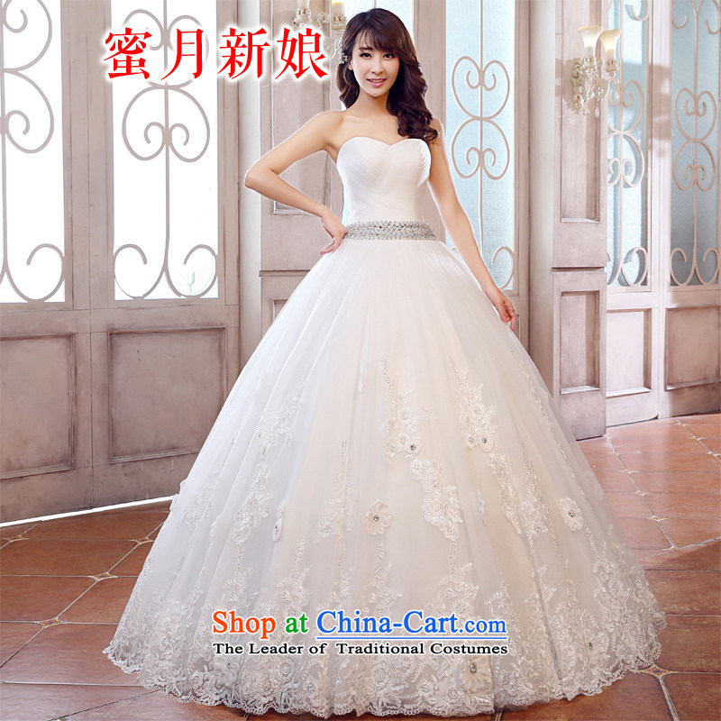Honeymoon bride Wedding 2015 new products wedding dresses and sexy new V-neck and chest wedding sweet princess wedding white聽L