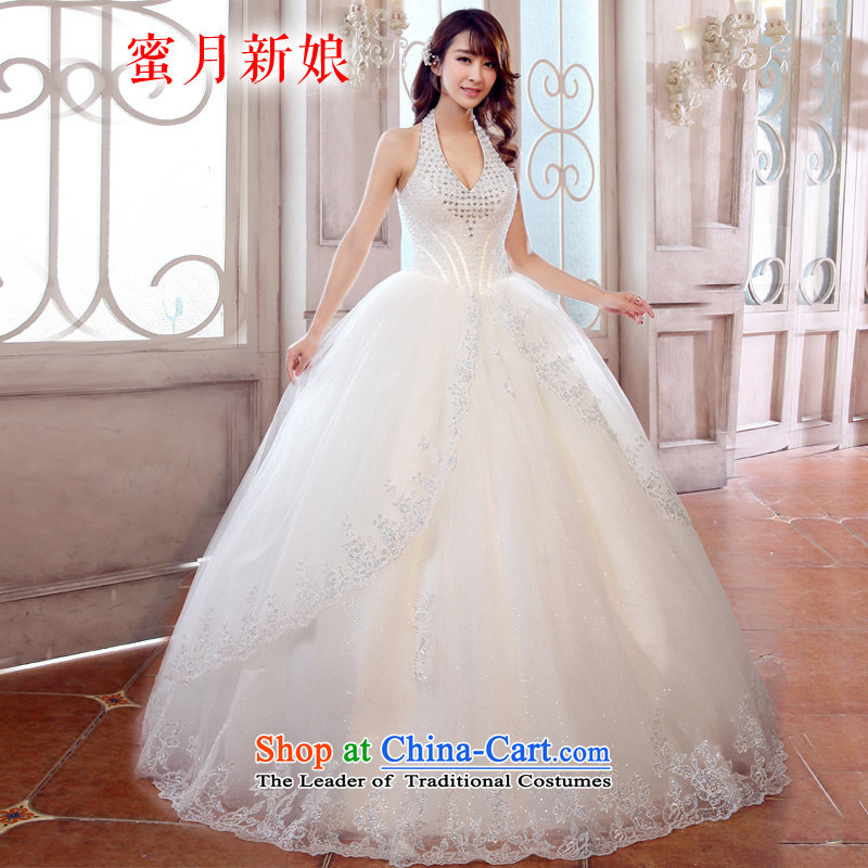 Honeymoon bride Wedding 2015 Spring new stylish wedding dresses also reset manually mount Korean style to align the Sau San Wedding White�XL