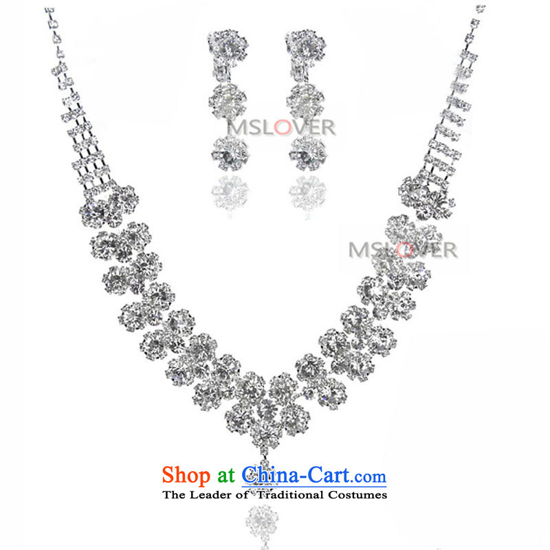 �The super star elegance pearl mslover alloy bride earring necklace earrings marriage jewelry wedding accessories kit�S130803�drill, full necklace earrings 2 piece (Ear Clip)