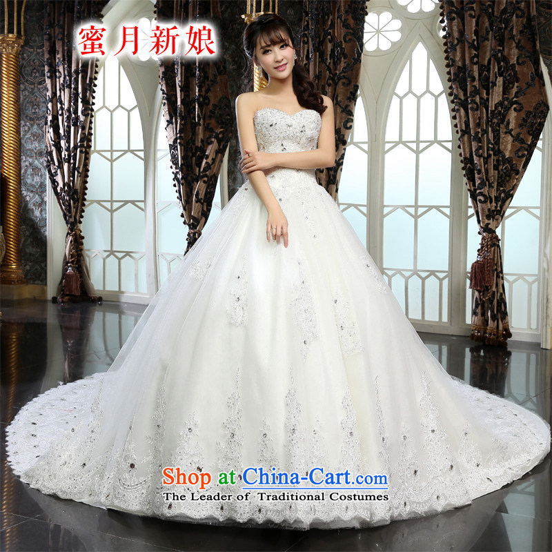 Honeymoon bride wedding dresses 2015 New dream lace tail wedding princess wedding White M