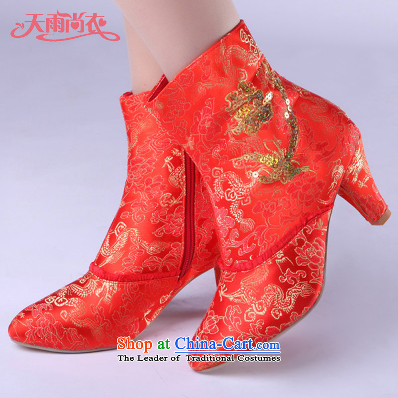Rain-sang Yi marriages shoes wedding dress shoes marriage shoes qipao marriage shoes half boots qipao XZ075 boots Red聽37
