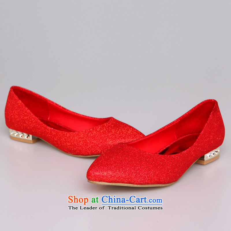 Rain-sang Yi marriages wedding ceremony bride shoes gold bridesmaid shoes flat shoe pregnant women better wearing a red shoes XZ054 marriage Red 37