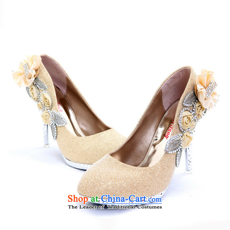 Rain-sang Yi New marriage shoes bride marriage shoes ultra-high water drilling shoes flowers posted drill bride wedding dresses single shoe XZ072 Golden�37