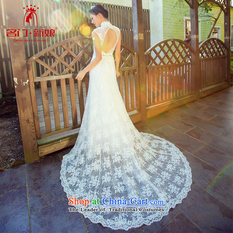 A Bride wedding tail 2015 new Korean crowsfoot lace Korean wedding dress 871 M