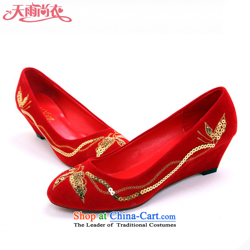Rain-sang Yi marriages marriage ornaments wedding dresses beautiful bride marriage shoes red bride marriage shoes shoes XZ104 qipao Red聽38