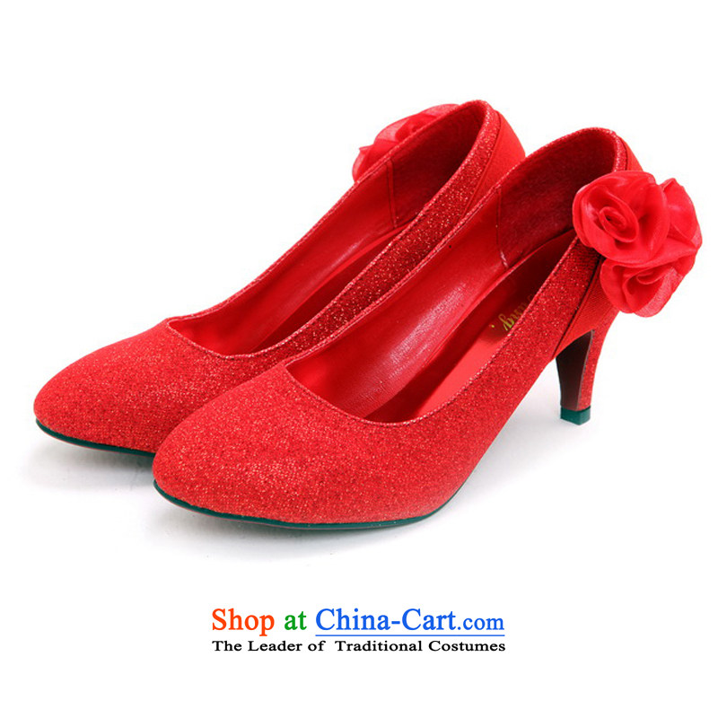 Rain was married yi wedding dresses bridal dresses marriage shoes shoes marriage bridesmaid marriage shoes Dance Shoe Red Shoes XZ103 marriage Red 34