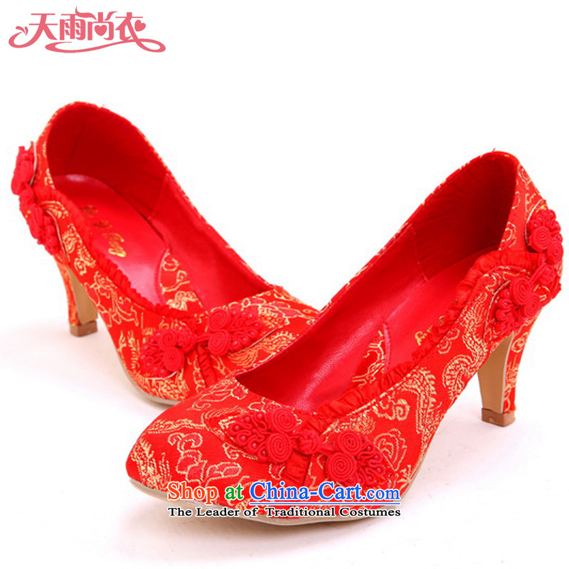 Rain-sang Yi marriages marriage ornaments wedding dresses women shoes beautiful bride shoes marriage shoes shoes qipao shoes XZ105 marriage Red 39