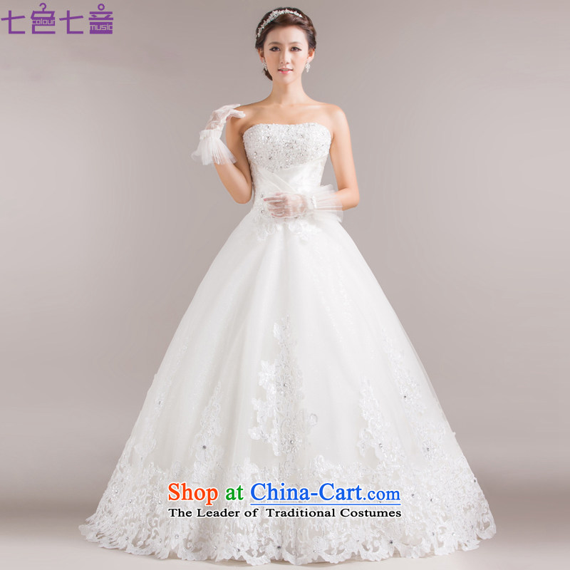 7 Color 7 tone Korean new stylish brides 2015 Married Mary Magdalene Chest straps to align the large white diamond wedding dress code?H006?white?S