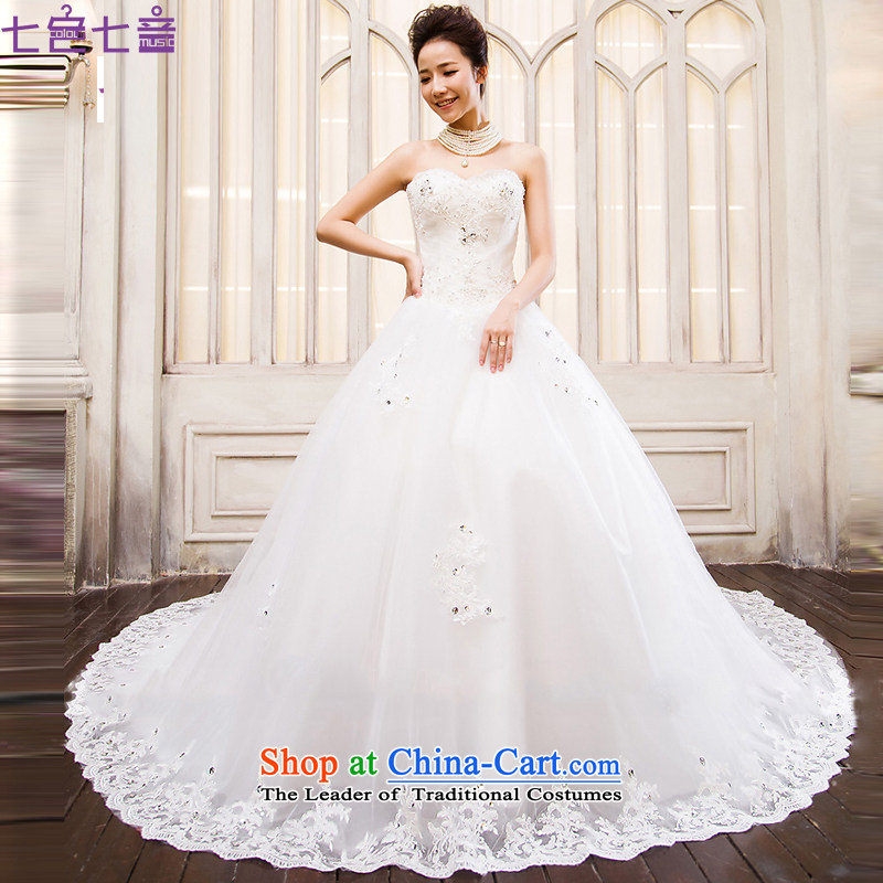 7 color tone won seven new long version 2015 tail anointed chest lace wedding bride wedding dresses pregnant women can be customized?H002?White 1.2 m tail?M