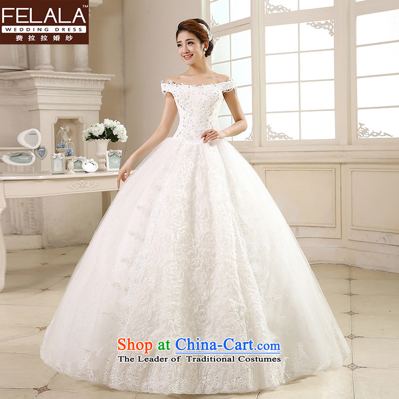 Ferrara �� 2015 new word wedding dresses shoulder wedding Korean-style water drilling pregnant women for larger wedding out of?1 feet L(2