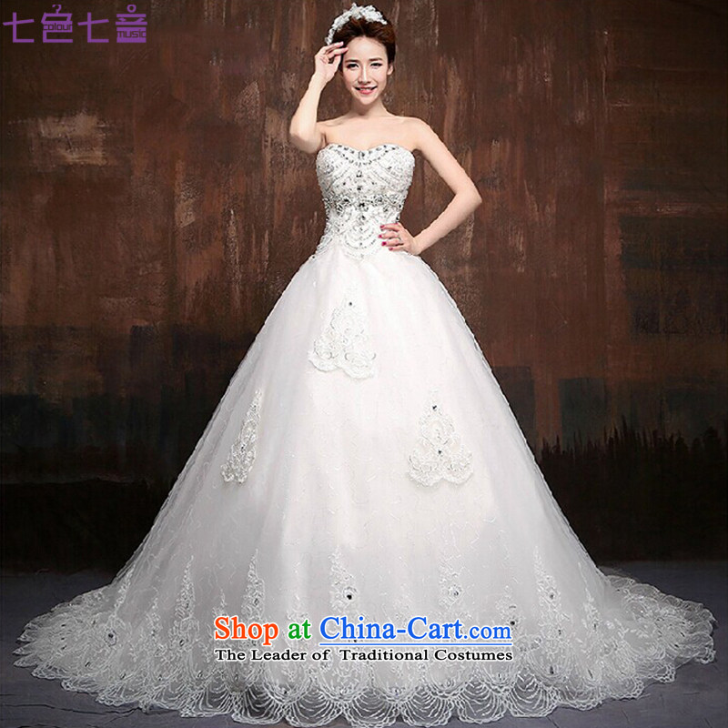 7 Color 7 tone Korean new bride 2015 Deluxe Big tail wedding Foutune of video thin wiping the chest wedding dresses�H009�tailored White