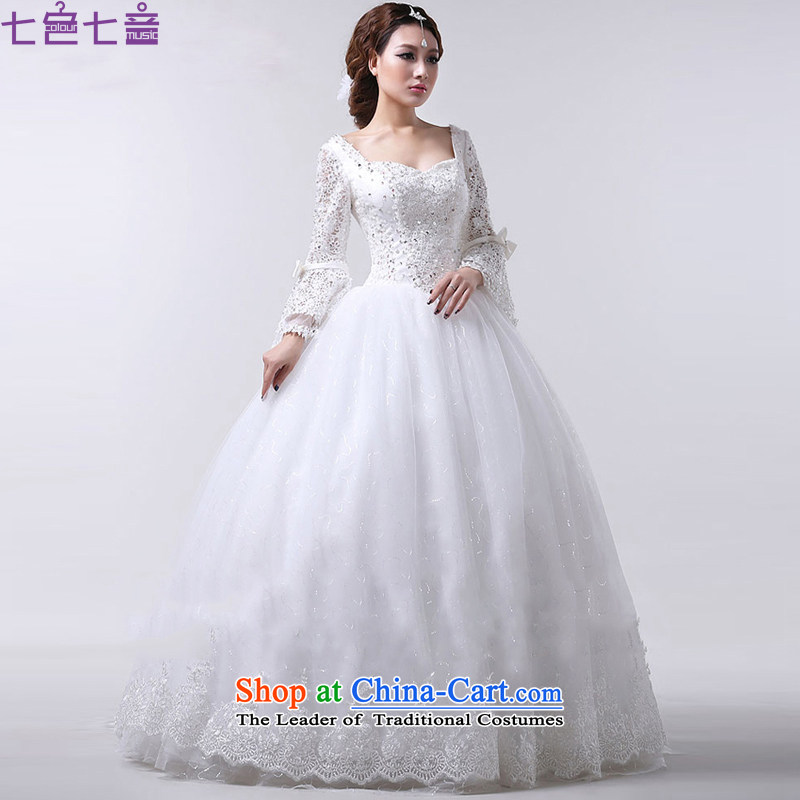 7 Color 7 tone won the 2014 edition of the new autumn and winter lace a field for half a long-sleeved Korea shoulder version to align the princess of nostalgia for the wedding dresses in cuff H013 white S