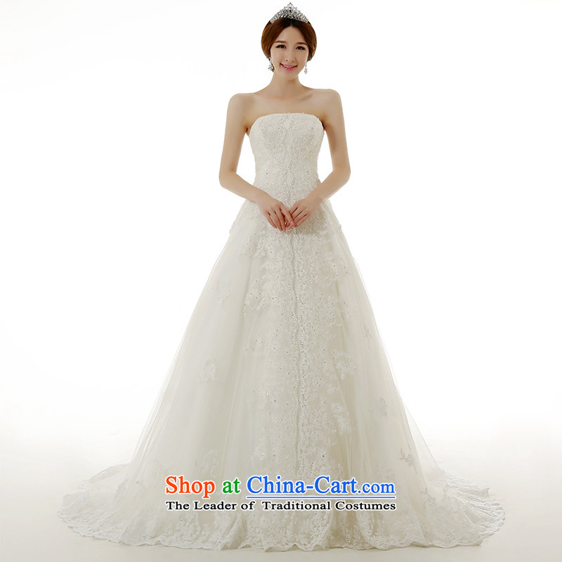 Clean the?new winter 2015 diffuse stylish Korean anointed chest lace large tail wedding dresses Korean Sau San Princess Bride with lace tail wedding dresses White?XL