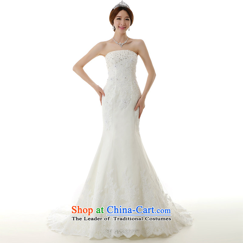 Clean the new bride Castores Magi 2014 crowsfoot large tail white wedding dress luxury lace anointed chest pocket inbox and Korean style crowsfoot tail Sau San Wedding Dress White XL