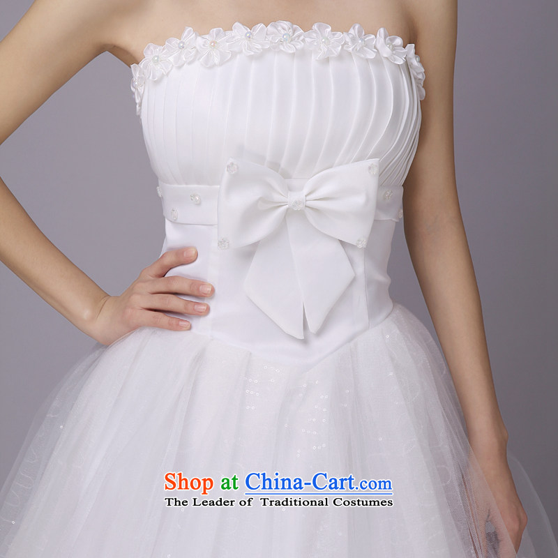 Honeymoon bride wedding PEARL FLOWER bride wedding wedding dresses new 2015 princess sweet white wedding M honeymoon bride shopping on the Internet has been pressed.