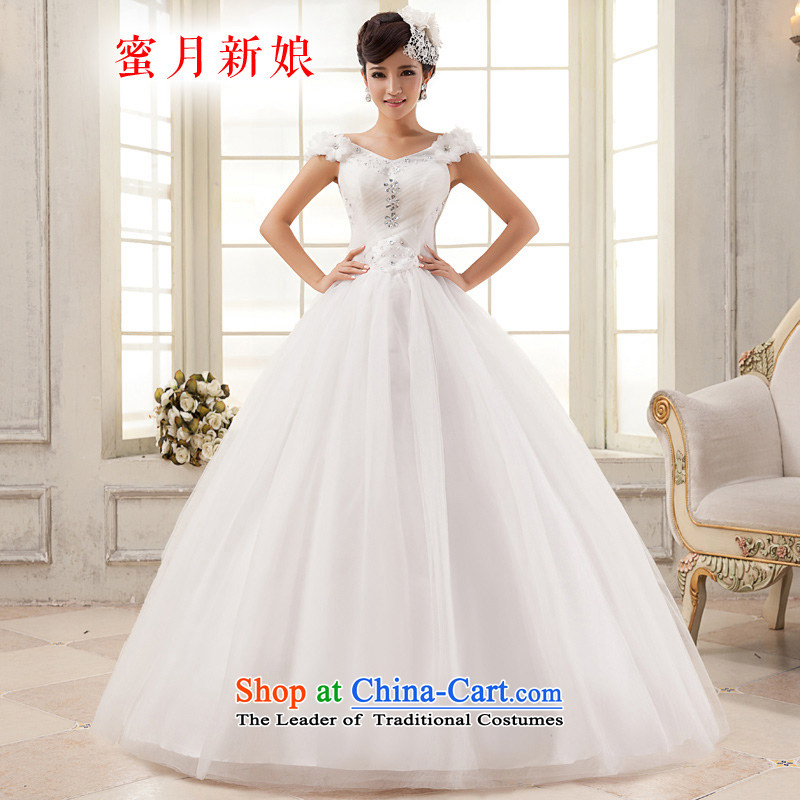 Honeymoon bride wedding dresses聽2015 new sweet word shoulder princess wedding diamond bon bon wedding white聽S