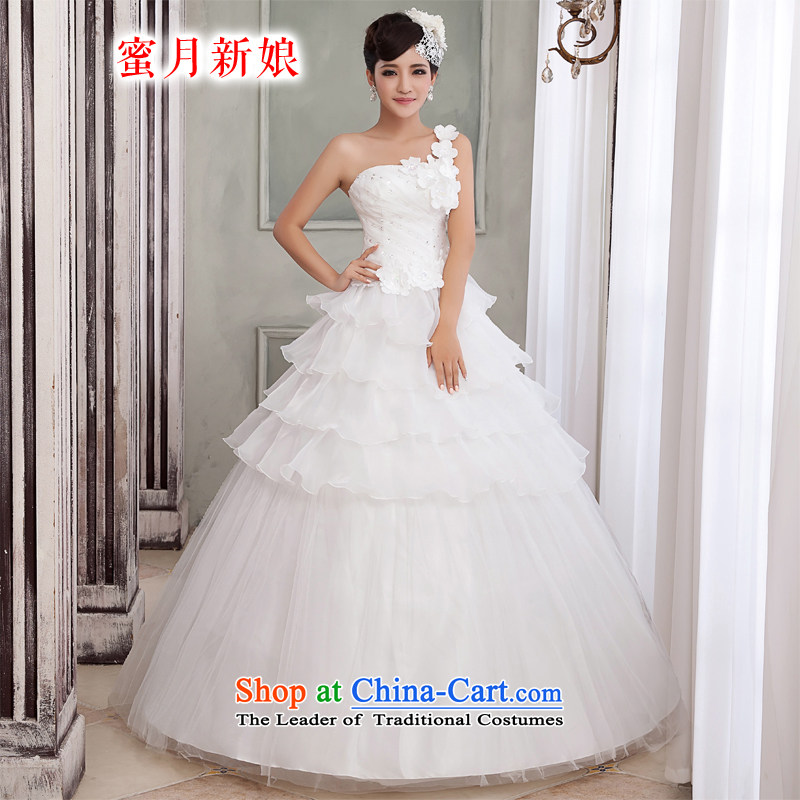Honeymoon bride wedding dresses?2015 Korean Sau San shoulder wedding water drilling with flowers princess wedding White?XL