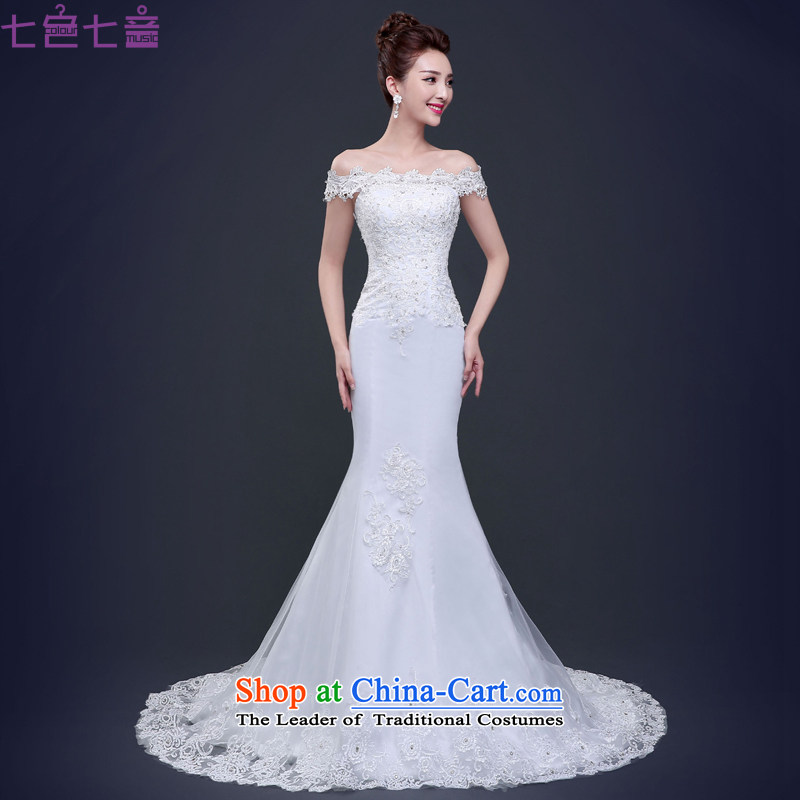 7 Color 7 tone Korean New 2015 Sau San Korean shoulders a simple word shoulder crowsfoot tail wedding dresses聽H015聽White聽M