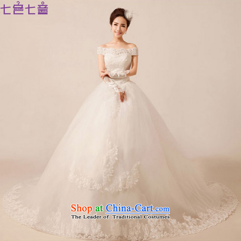 7 Color 7 tone Korean wedding dresses new Word 2014 luxury shoulder lace tail align to the princess straps wedding?H016?tail)?L