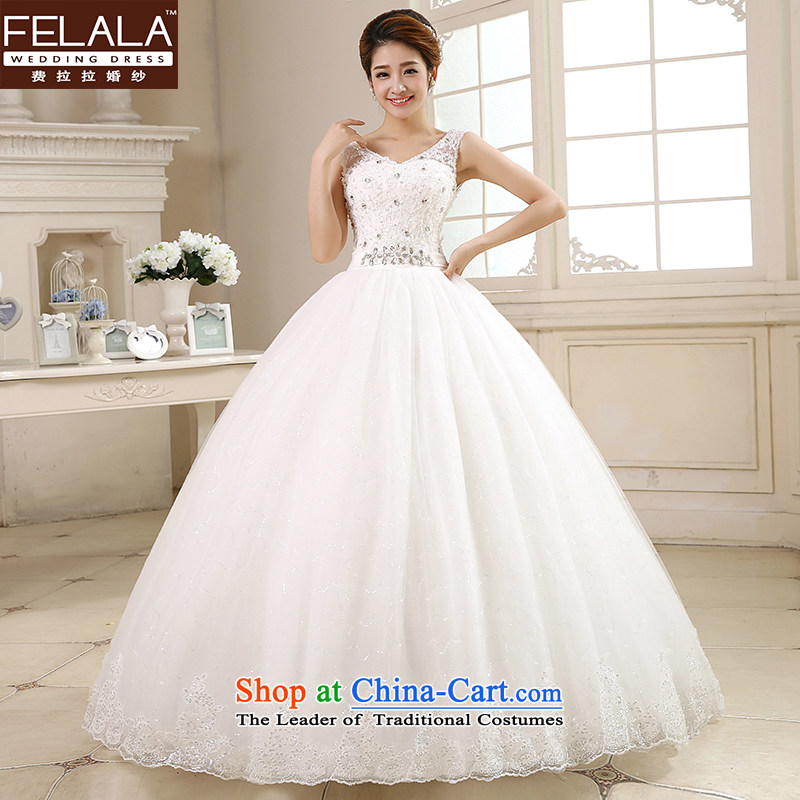 Ferrara �� wedding dresses?2015 new Korean sweet deep V-neck-bon bon yarn bride wedding video?XL(2 thin gauge 2