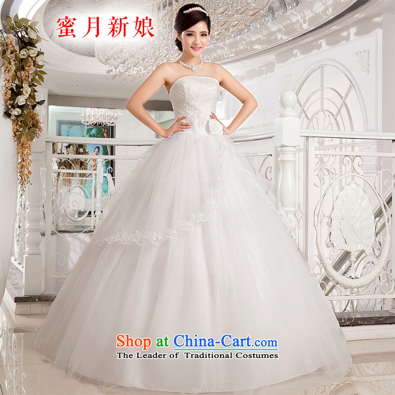 Honeymoon bride wedding dresses 2015 new Korean fresh sweet Princess Mary Magdalene Chest Flower to align the strap wedding white聽XS
