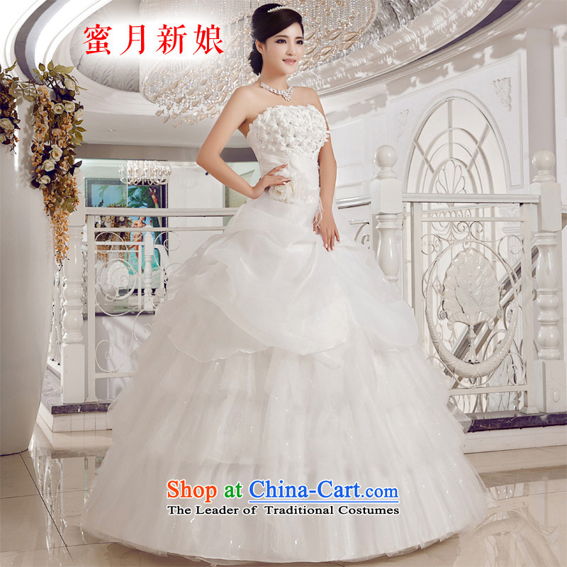 Honeymoon bride wedding dresses?2015 new Korean Diamond Flower and chest straps wedding princess bon bon wedding white?L