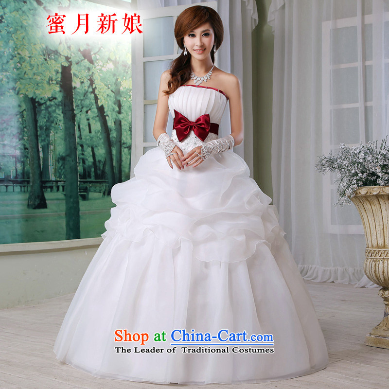 Honeymoon bride wedding dresses bow tie bride wedding new sweet princess wedding wine red bow tie White聽XL